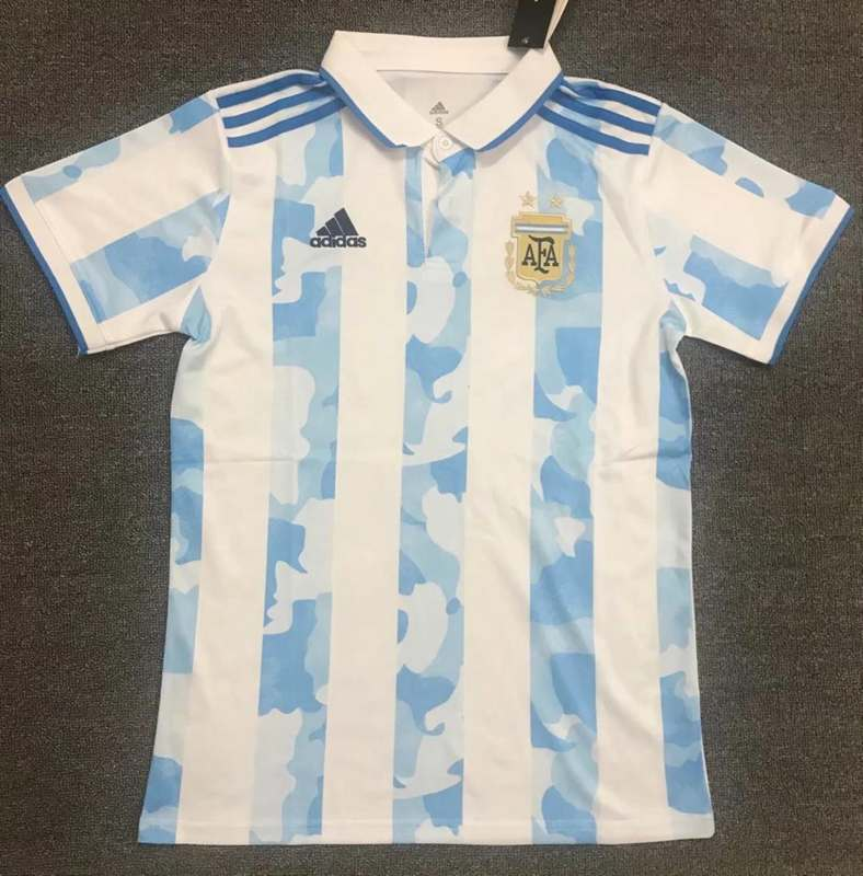AAA(Thailand) Argentina 2021 White Polo Soccer T-Shirt
