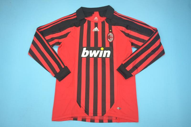 AAA(Thailand) AC Milan 07/08 Home Long Retro Soccer Jersey